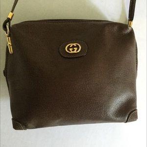 GUCCI Small Brown Bag w/Black Speckles Gold Tone